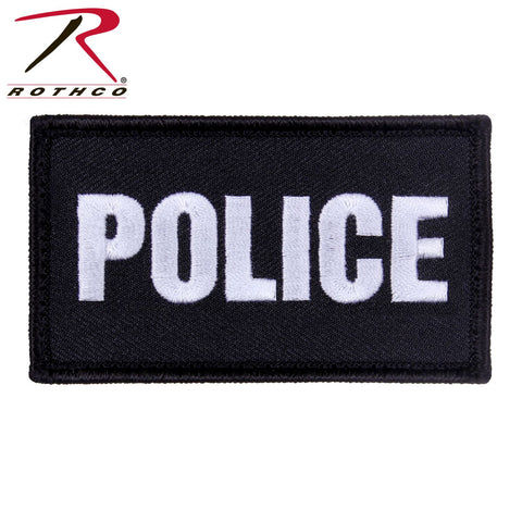 "Rothco Embroidered Police Patch Black & Silver Letters 1 7/8"" X 3 3/8"