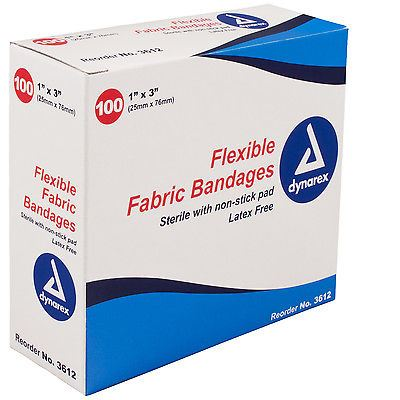 "Dynarex Sterile Fabric Bandage 1"" x 3"" (Box of 100) First Aid #3612"