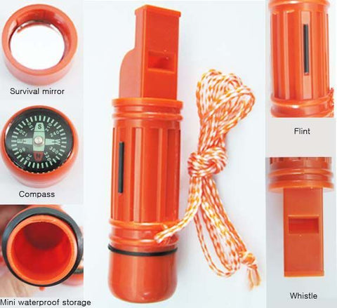 New - 5 in 1 Survival Whistle, Liquid Compass, Mirror, Flint & more