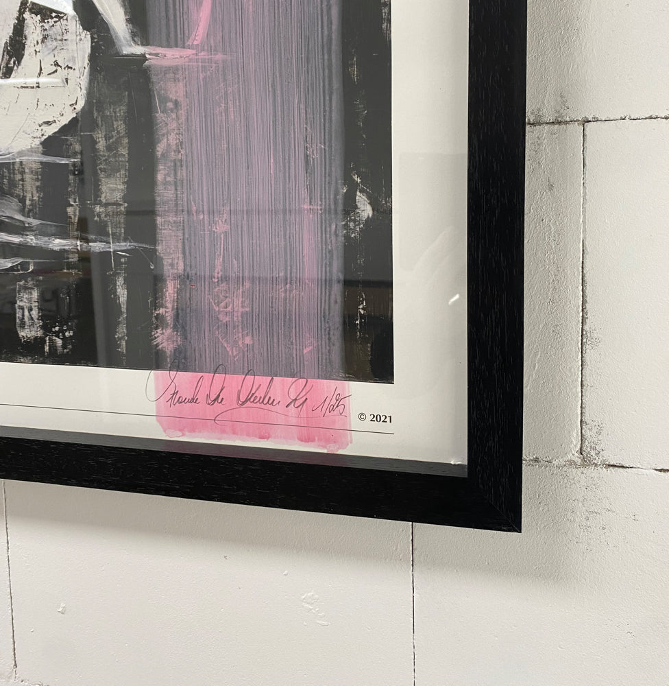 Close up of artist signature and personalised paint stroke on limited edition print