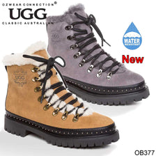 UGG OZWEAR LADIES EILEEN LACEUP FASHION BOOTS COWHIDE SUEDE + PREMIUM SHEEPSKIN OB377
