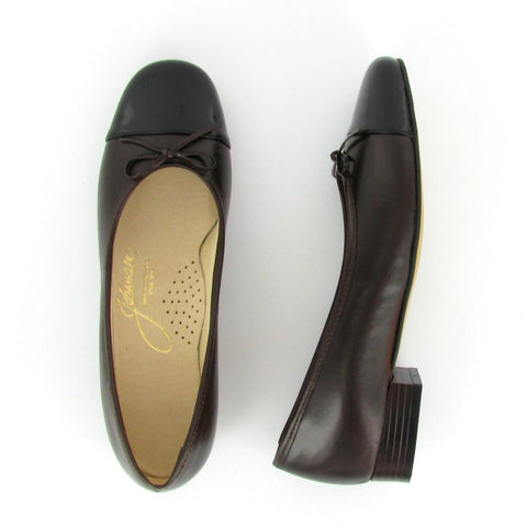 MAGGIE - Brown Leather/Black Patent