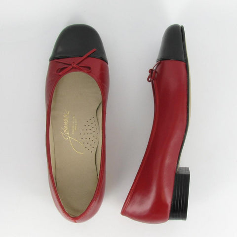 MAGGIE - Red Leather/ Black Patent