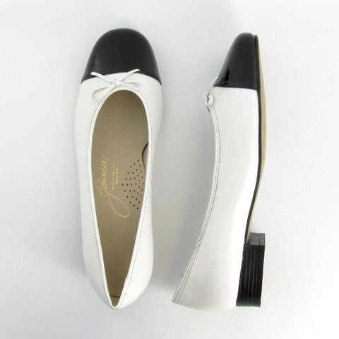 MAGGIE - White Leather / Black Patent