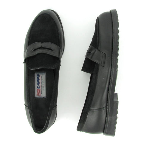 ST- PREP- Women's Black leather/  Black Suede Steel Toe
