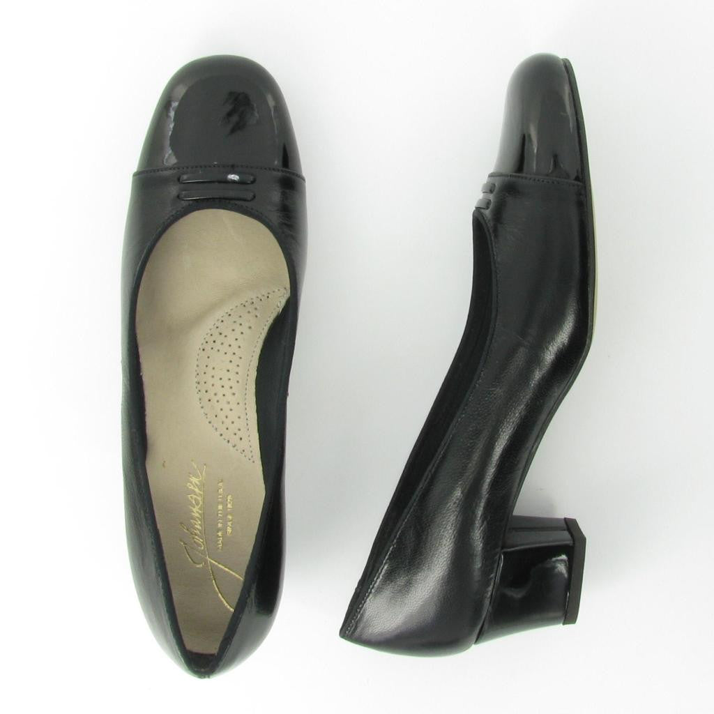 STACY, Black Leather/ Black Patent Trim