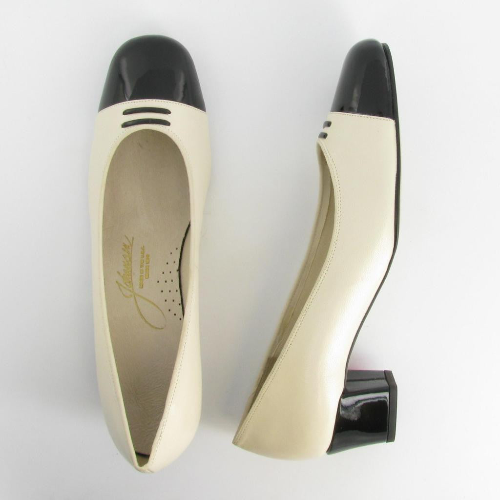STACY, Bone Leather / Black Patent Trim
