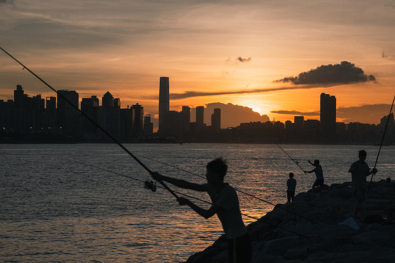 Bamboo Scenes Hong Kong Artist Jeremy Cheung Dusk Life By The Harbour, Kowloon