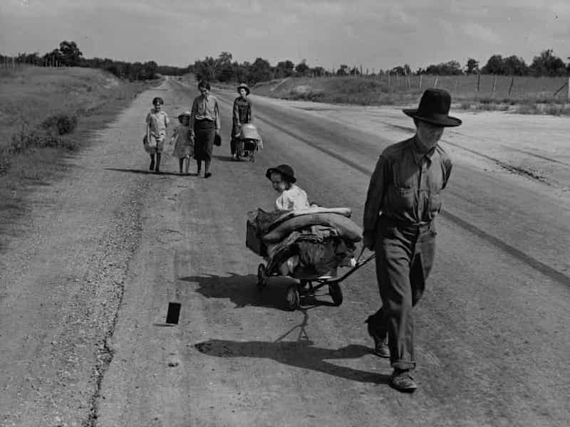Dorothea Lange Photograph 'Family leave their home in search of a better like due to a serious long-term drought int he region' (1938), Pittsburg Oklahoma, Getty Images