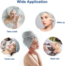 Load image into Gallery viewer, Microfiber Hair Towel Wrap, Rapid Drying Shower Cap, Super Absorbent Dry Hair Hat Turban with Buttons for Women Wet/Long/Curly/Thick Hair, 10 inch X 26 inch(2 Pack)