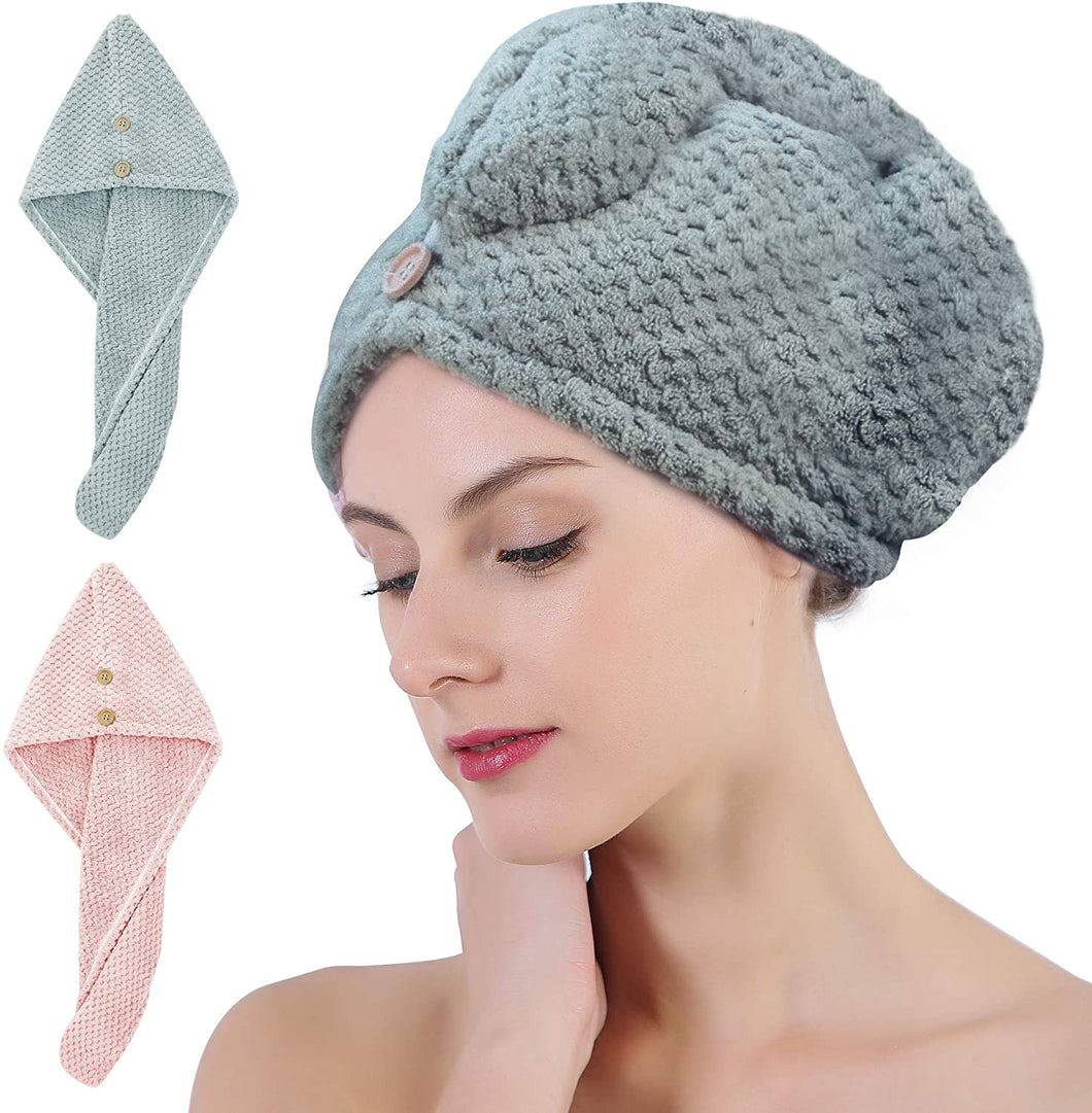 Microfiber Hair Towel Wrap, Rapid Drying Shower Cap, Super Absorbent Dry Hair Hat Turban with Buttons for Women Wet/Long/Curly/Thick Hair, 10 inch X 26 inch(2 Pack)