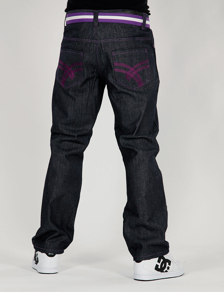 Basic Turn Up Jeans / With  Belt Dark Blue