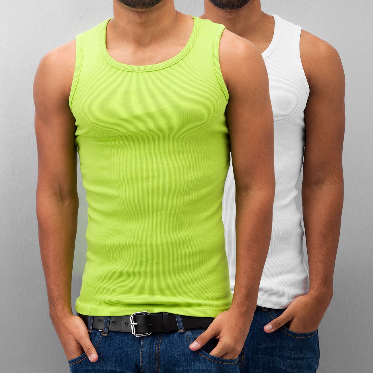 Dangerous DNGRS Double Pack Tank Top Lime Green/Bright White Green