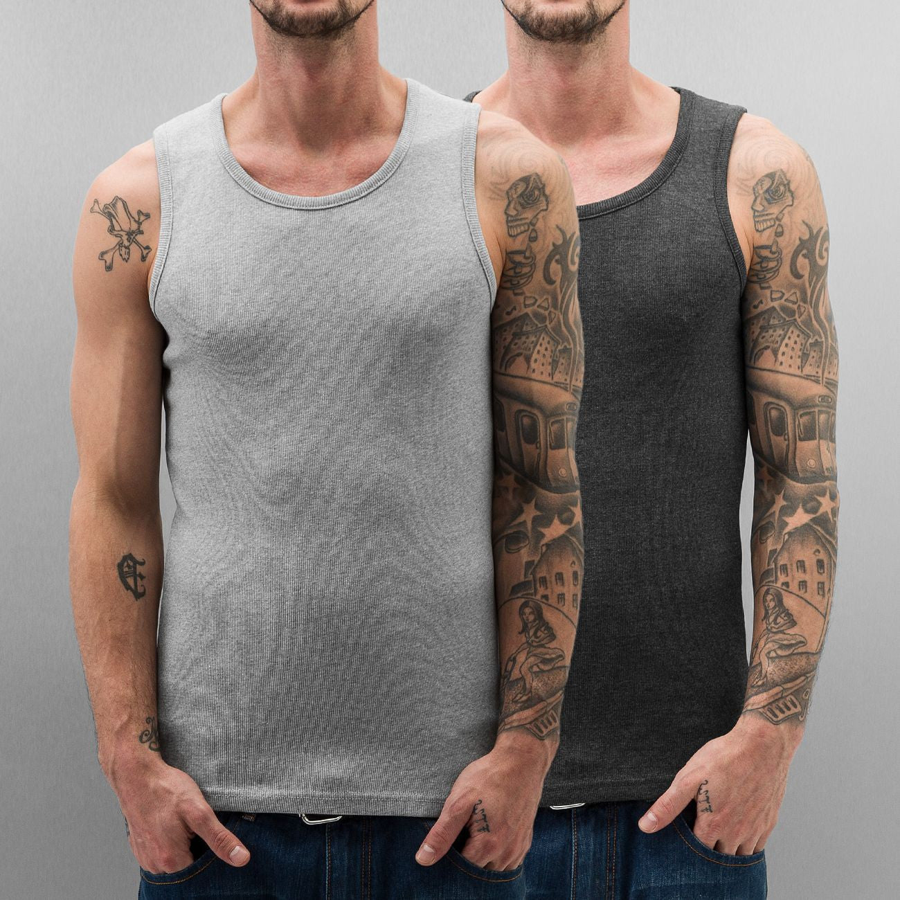 Dangerous DNGRS Double Pack Tank Top Grey Melange/Charcoal Melange Grey