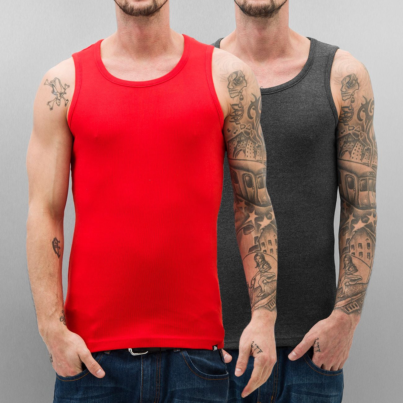 Dangerous DNGRS Double Pack Tank Top Fiery Red/Charcoal Red