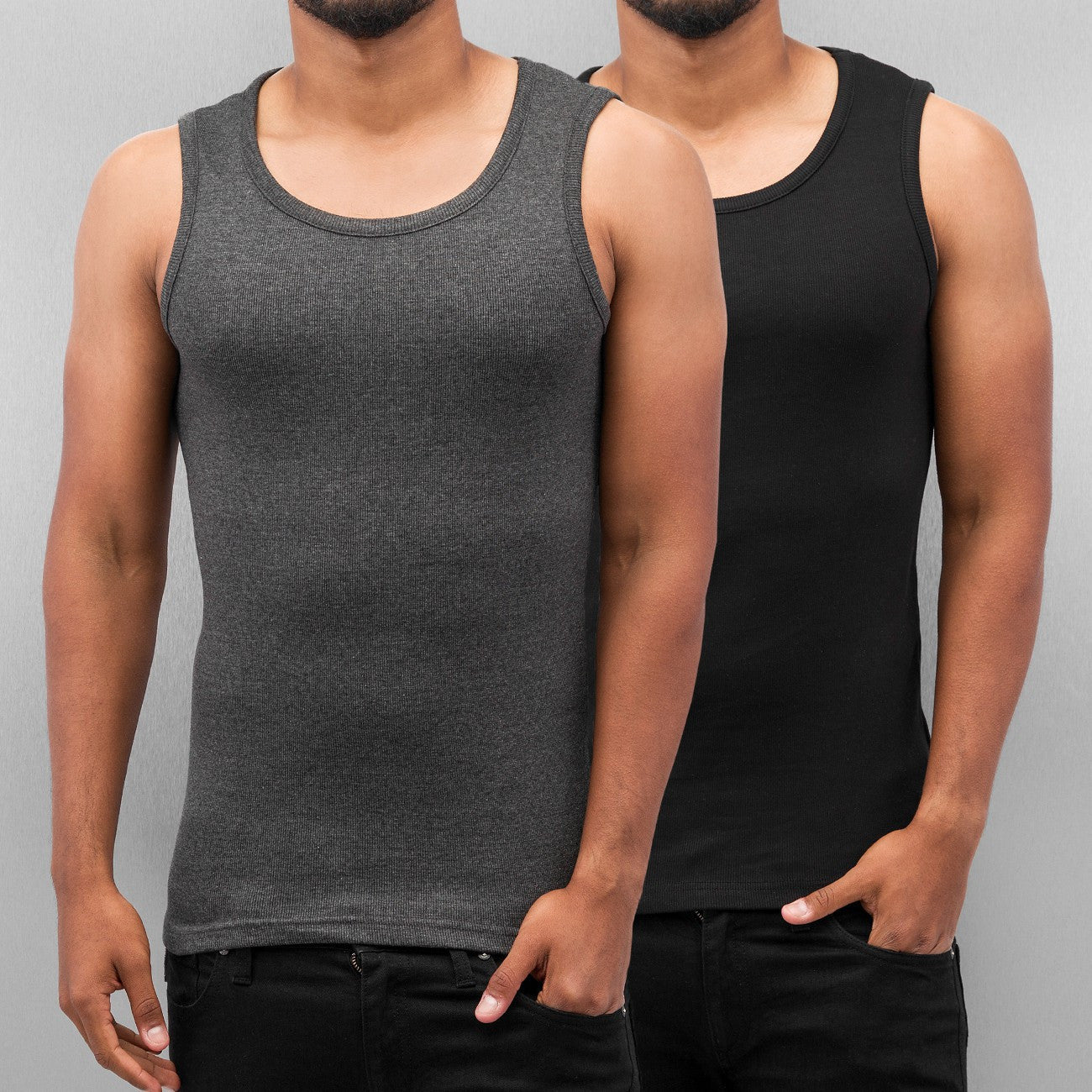Dangerous DNGRS Double Pack Tank Top Charcoal Melange/Jet Black Grey