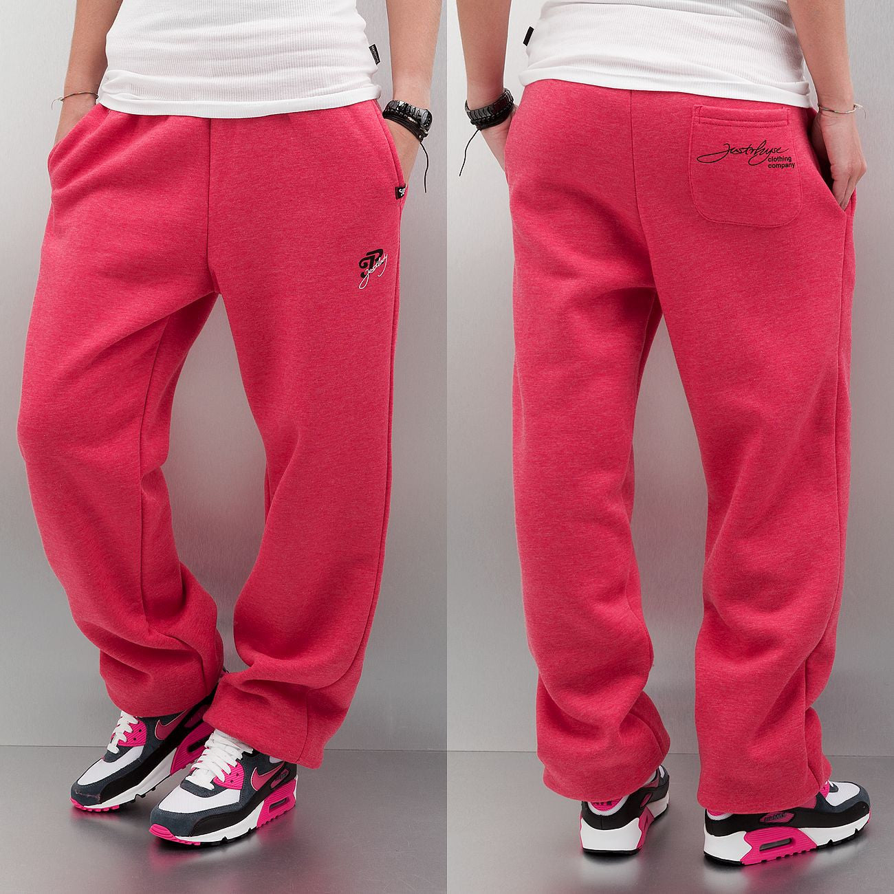 Just Rhyse Ladies Woman Basic Sweat Pants  Red