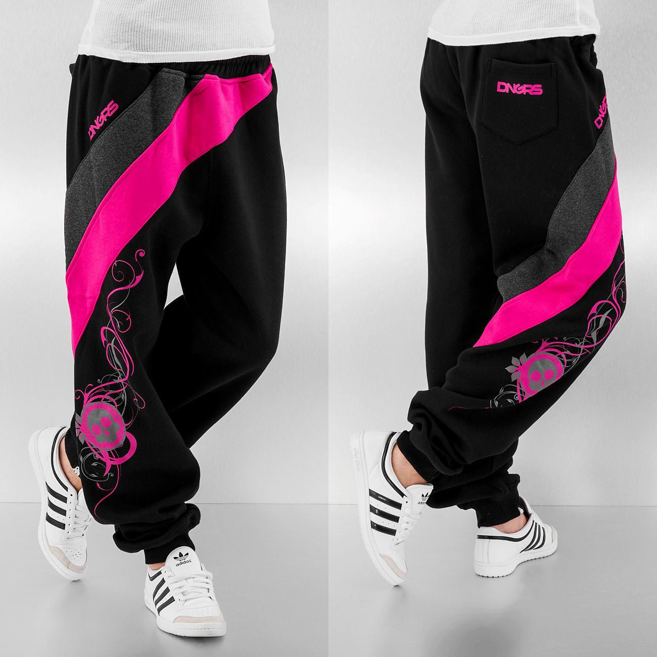 Dangerous DNGRS Ladies Skull Sweat Pants  Black