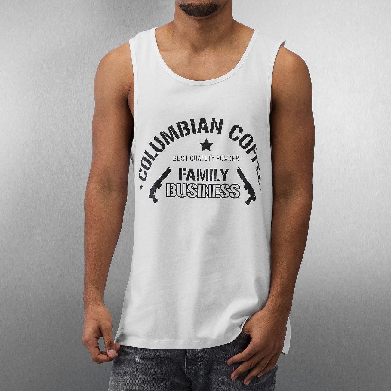 Dangerous DNGRS Columbian Coffee Tank Top White White