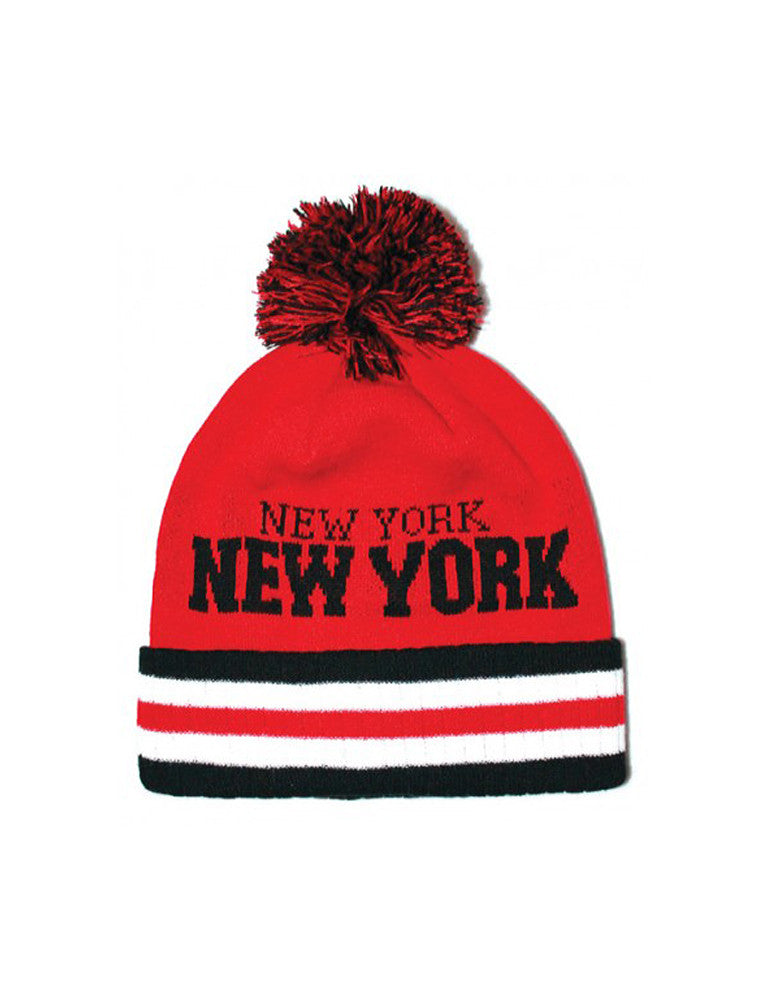 New York Stripe City Pom Pom Beanie Red