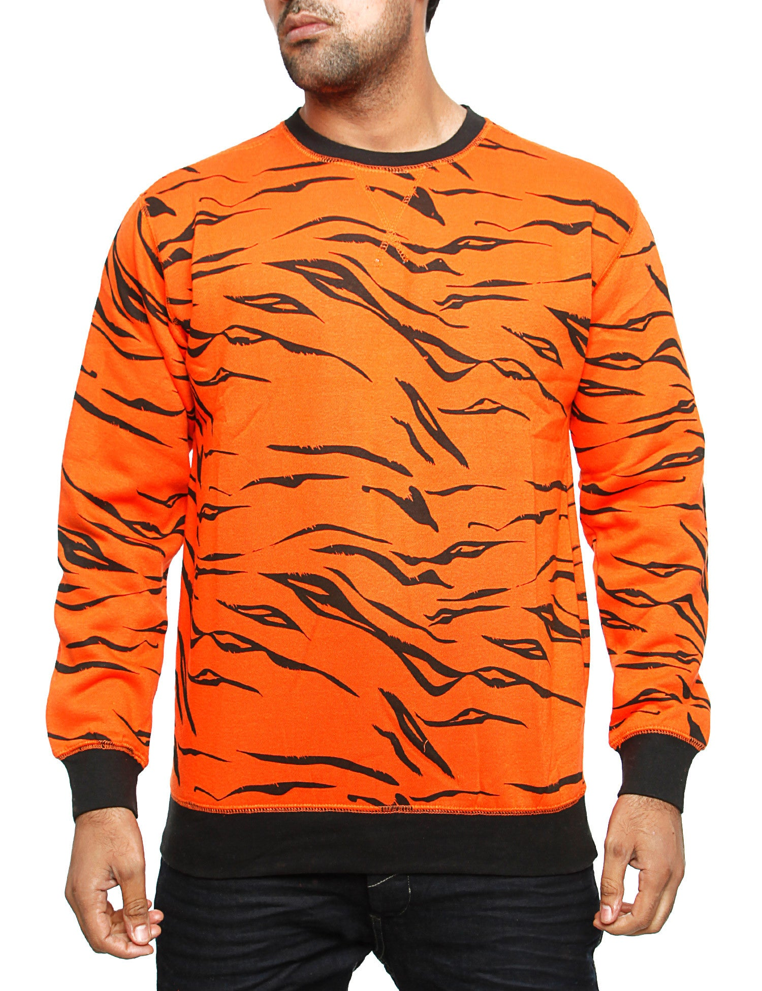 Imperious Tiger Print Crewneck CS12 Orange