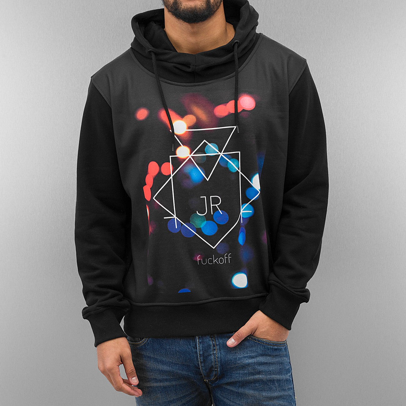 Just Rhyse Fuckoff Lights Hoody  Black