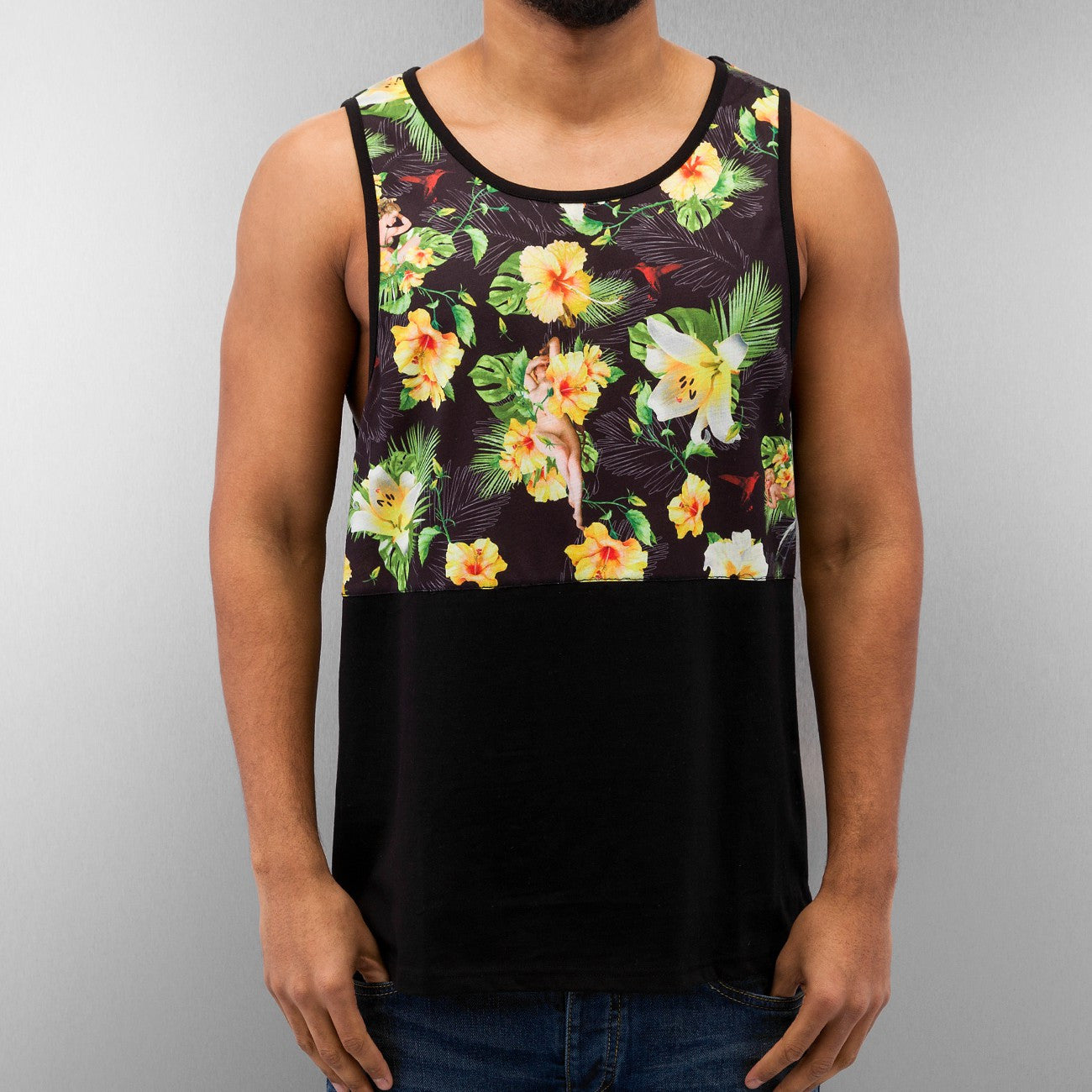 Dangerous DNGRS Hawaiian Flower Tank Top  Black