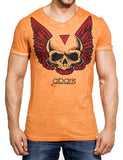 Skull Wing T-Shirt Orange