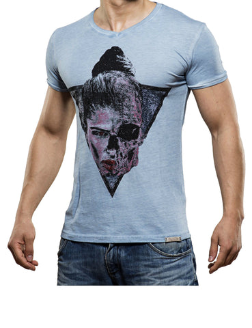 Half Skull T-Shirt Light Blue