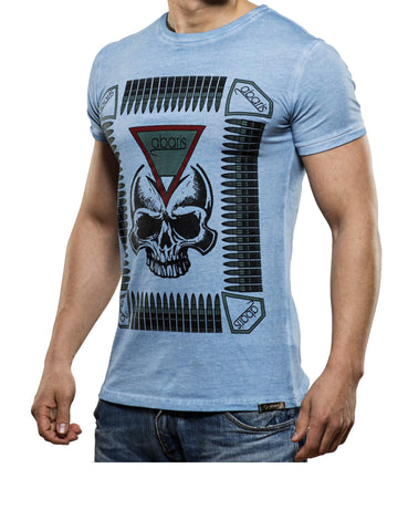 Bullet Skull T-Shirt Light Blue