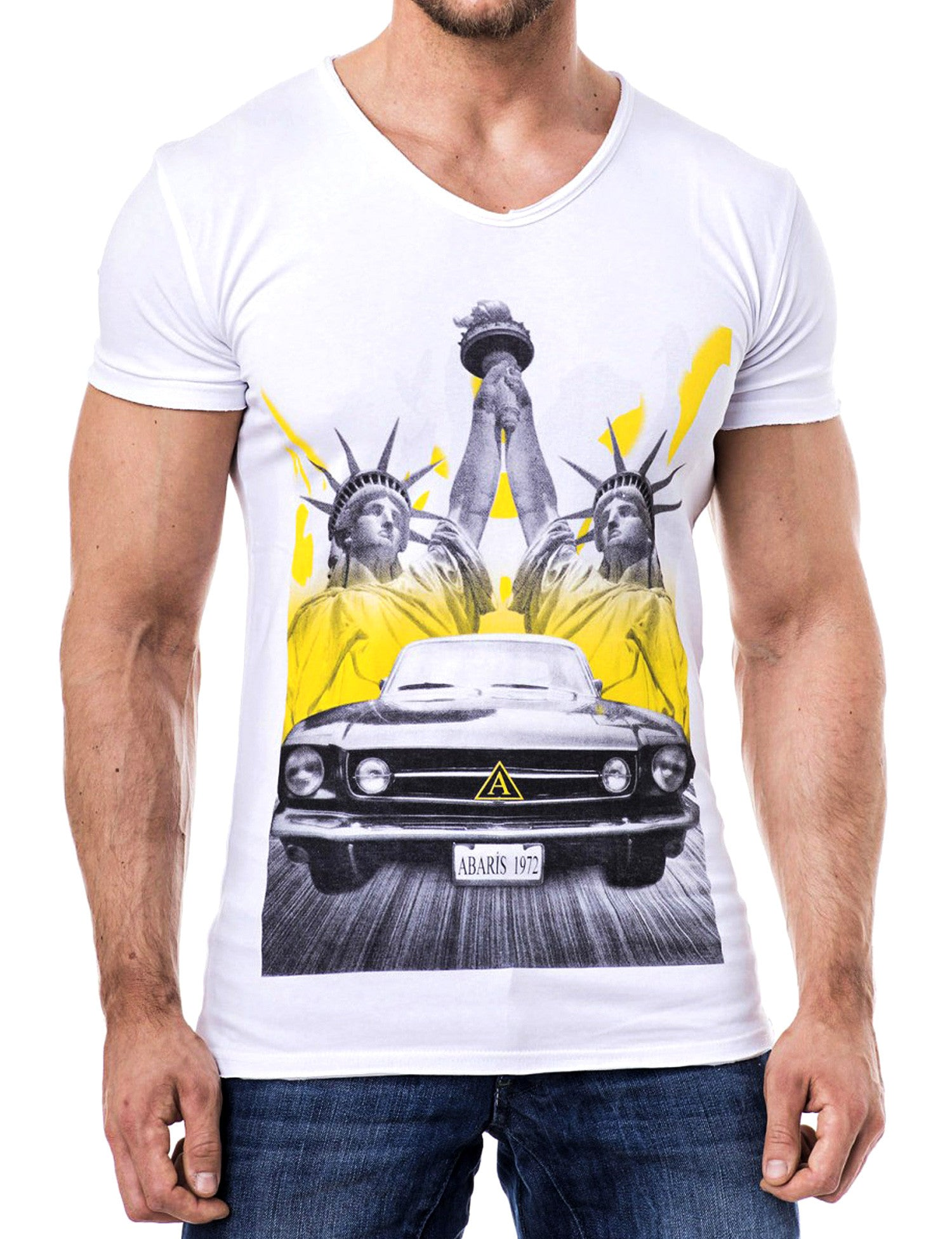 Double Up Liberty V-Neck T-Shirt White
