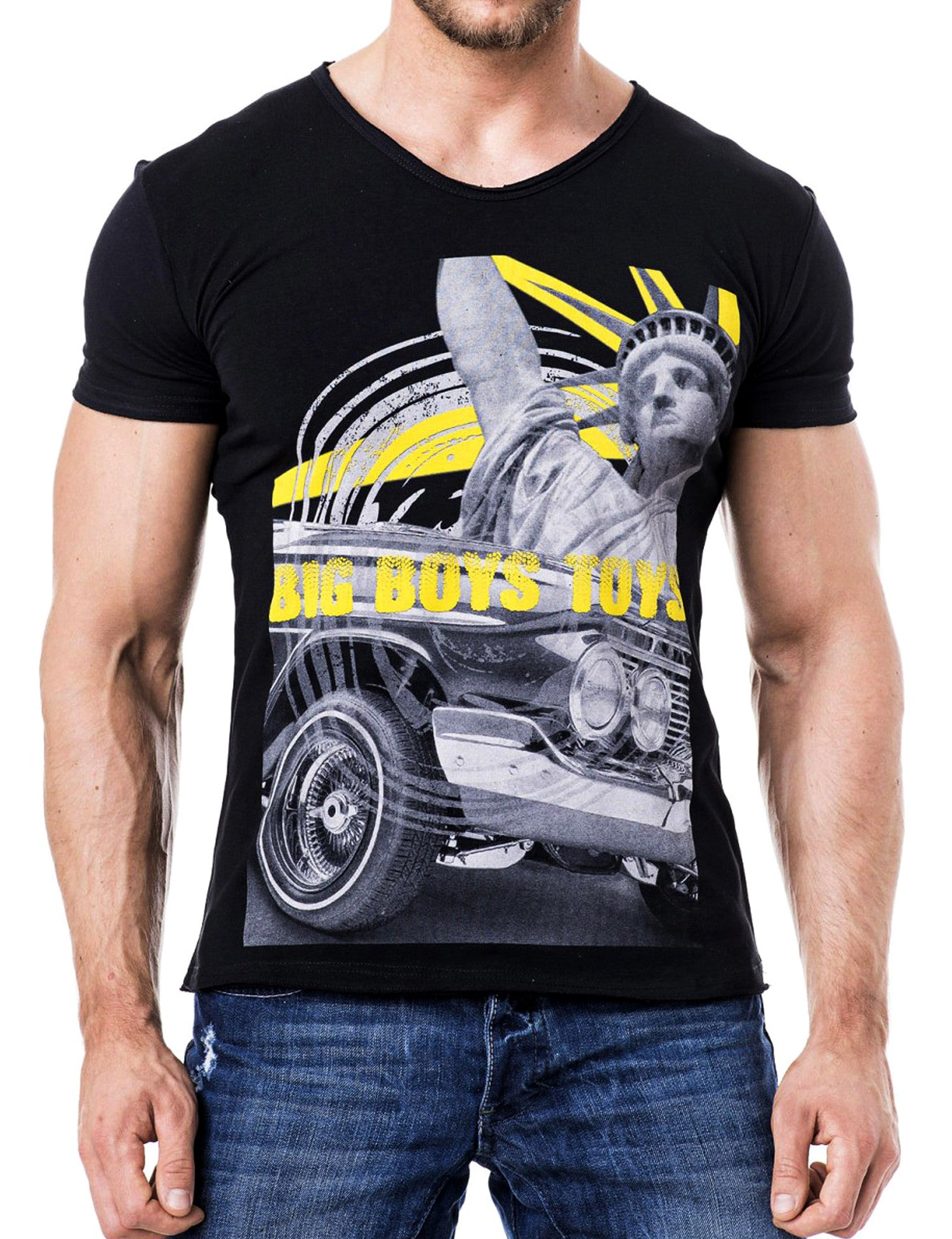 Big Boys Toys V-Neck T-Shirt Black