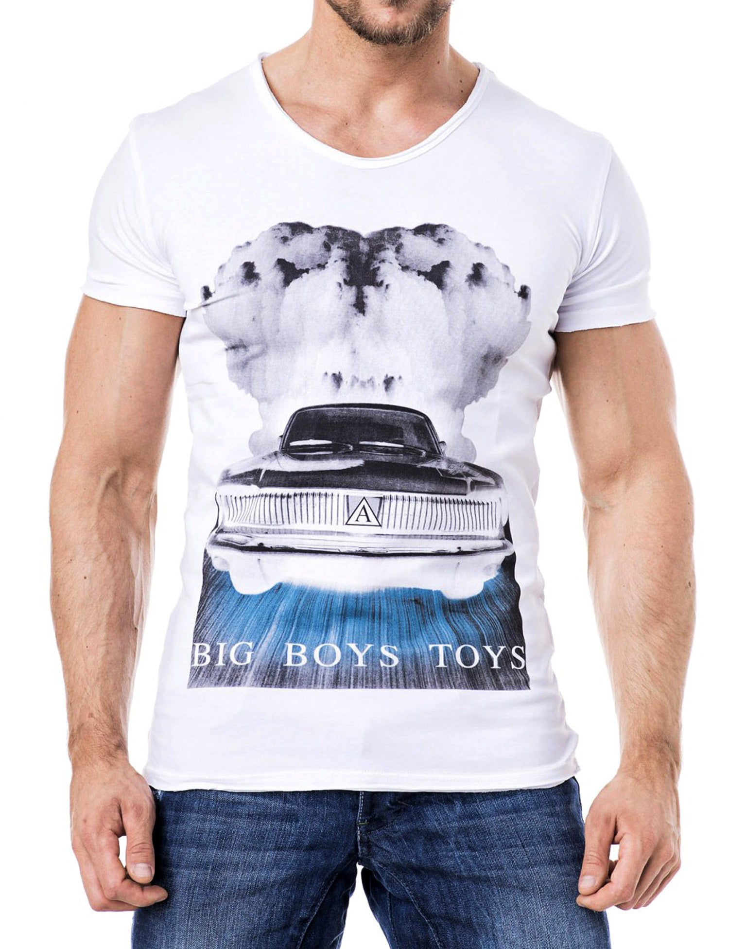 Smoking Car V-Neck T-Shirt White