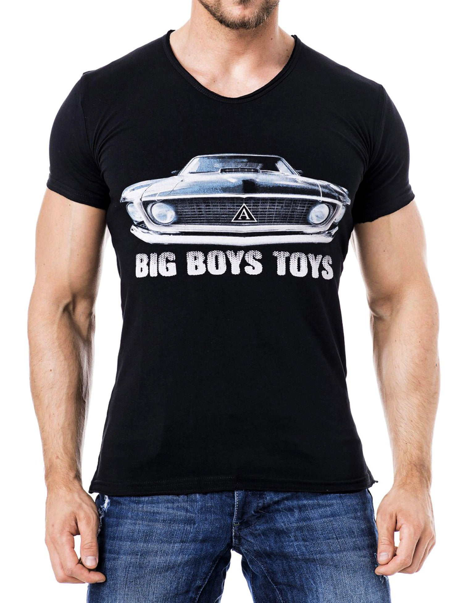 Muscle Car V-Neck T-Shirt Black