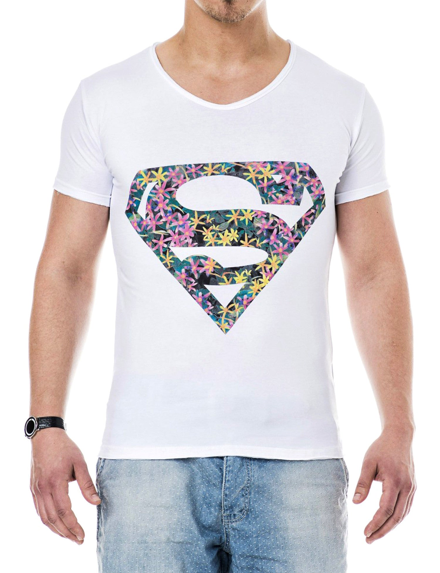Superman V-Neck T-Shirt White