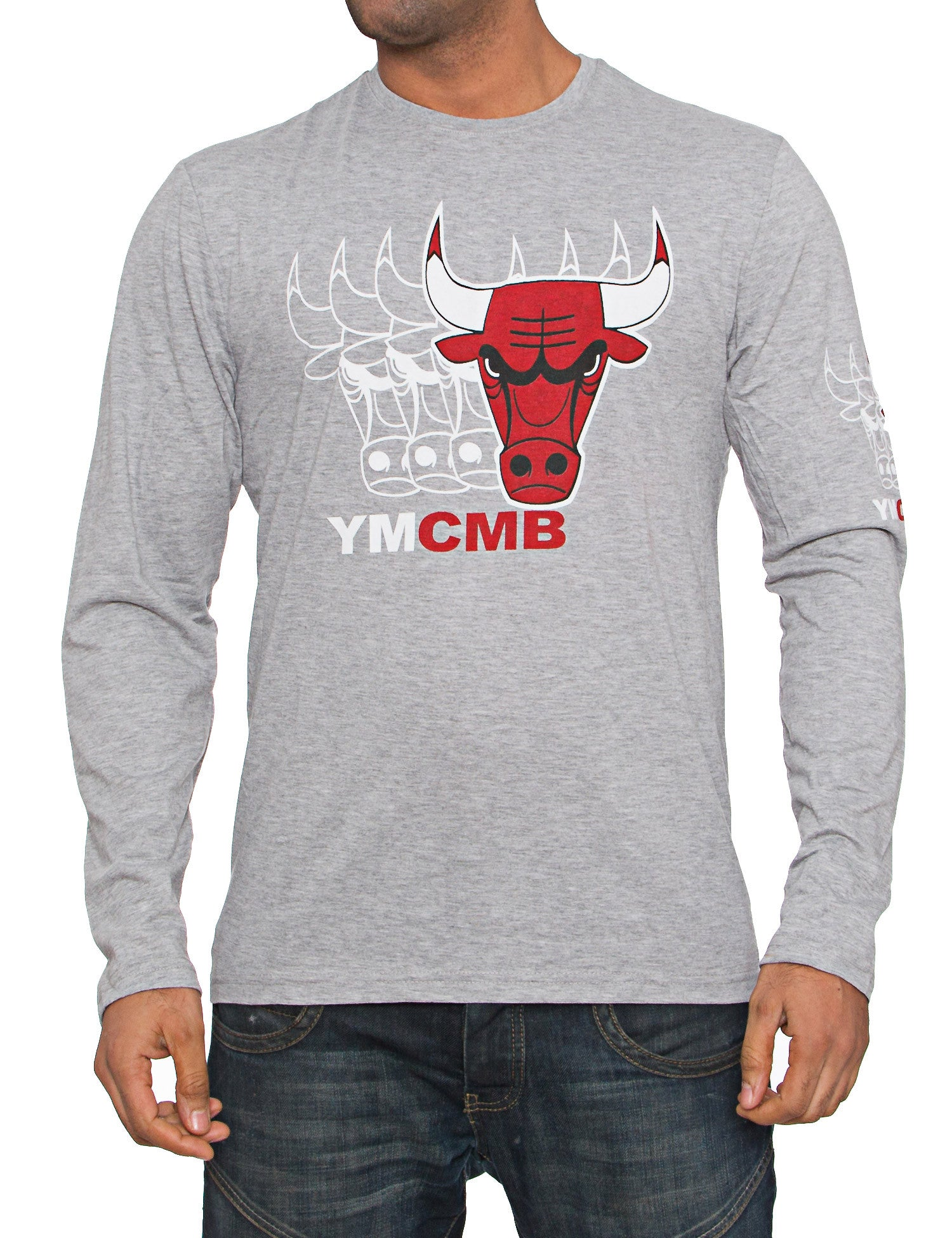 YMCMB Bulls Quadro Faded Long Sleeve Heather Grey