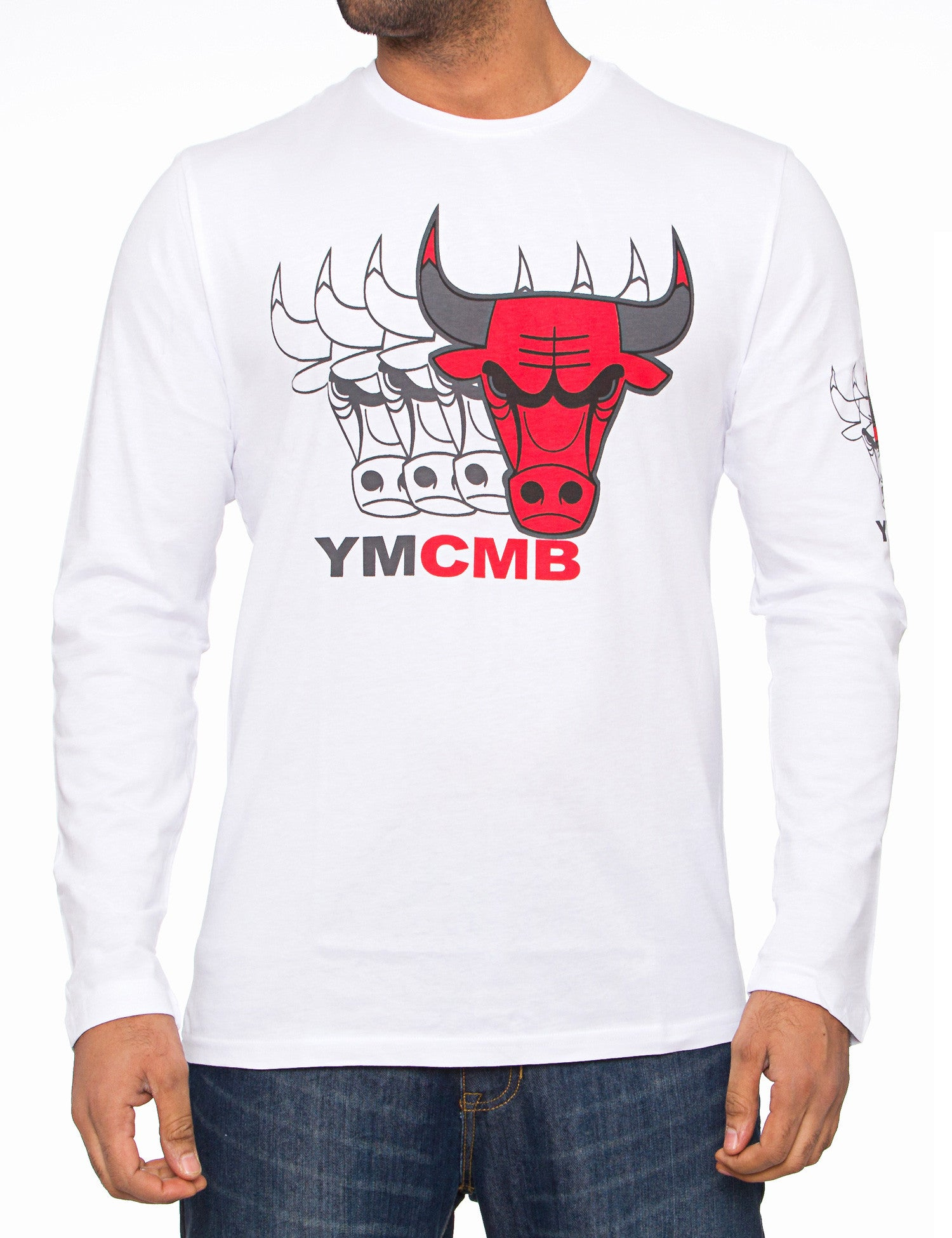 YMCMB Bulls Quadro Faded Long Sleeve White