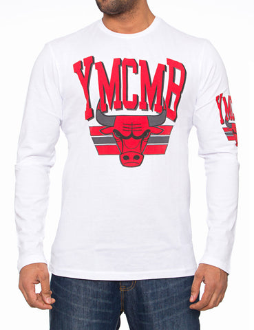 YMCMB Bulls Stripes Long Sleeve White