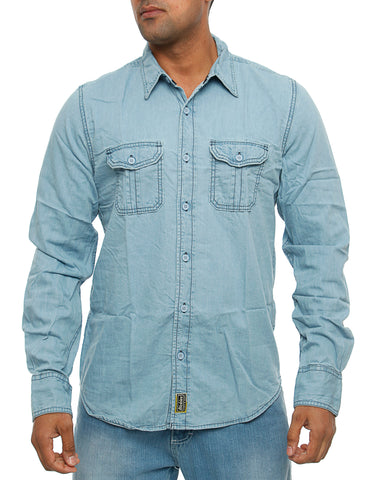 Dickies Blue Collar Denim Shirt Blue