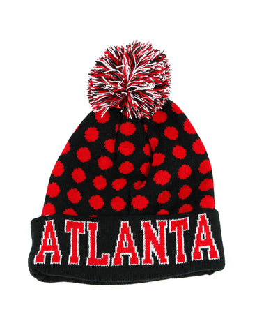 Atlanta Dots Beanie Pom Pom Knit Black