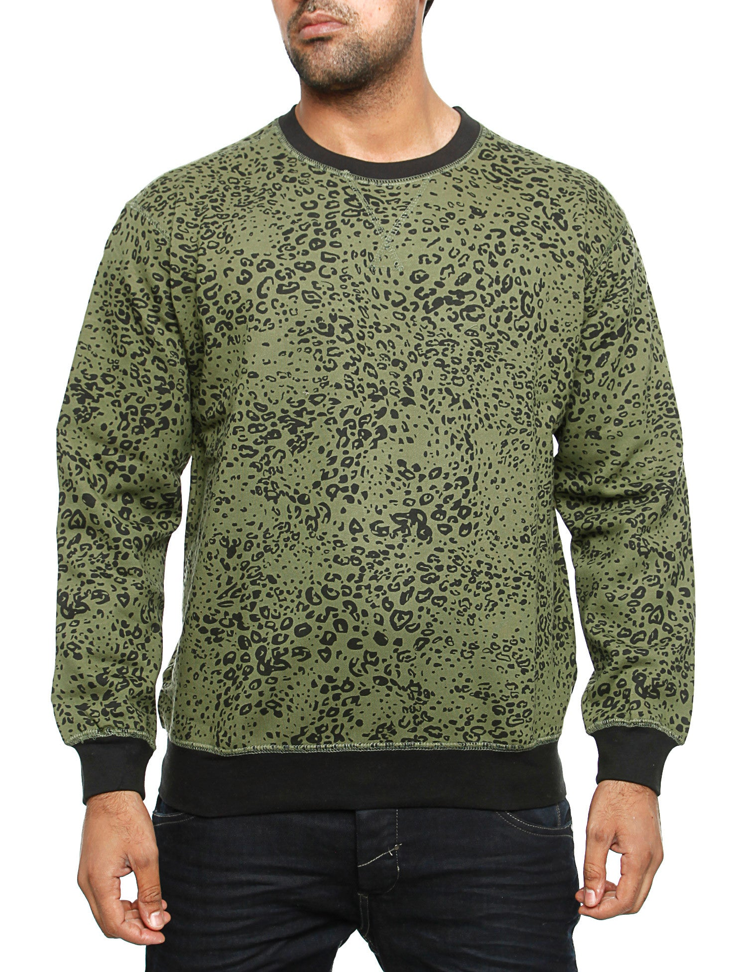 Imperious Leopard Print Crewneck Olive Green
