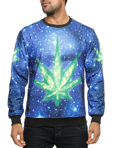 Imperious ?Marijuana? Galaxy Sweatshirt CS563 Blue Black