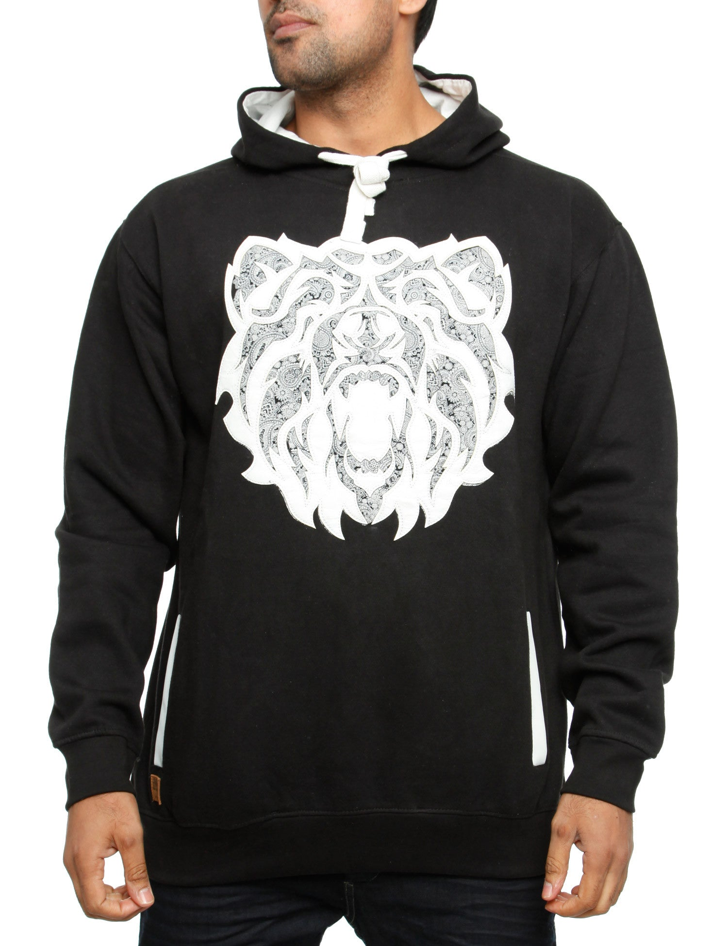 Imperious Bear PU Applique Hoody HS24 Black