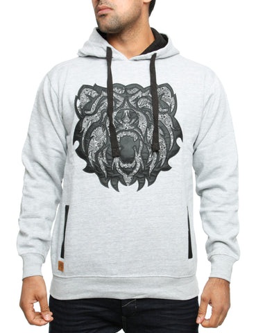 Imperious Bear PU Applique Hoody HS24 Grey