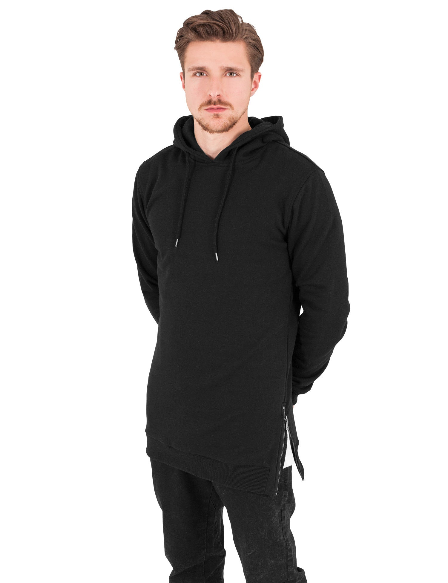 Long Side Zipped Hoody TB1105 Black