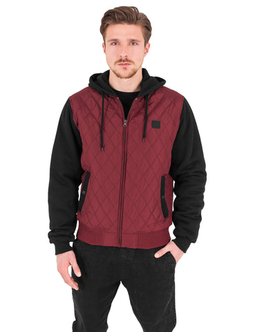 Hooded Diamond Quilt Nylon Jacket TB1149 Brown