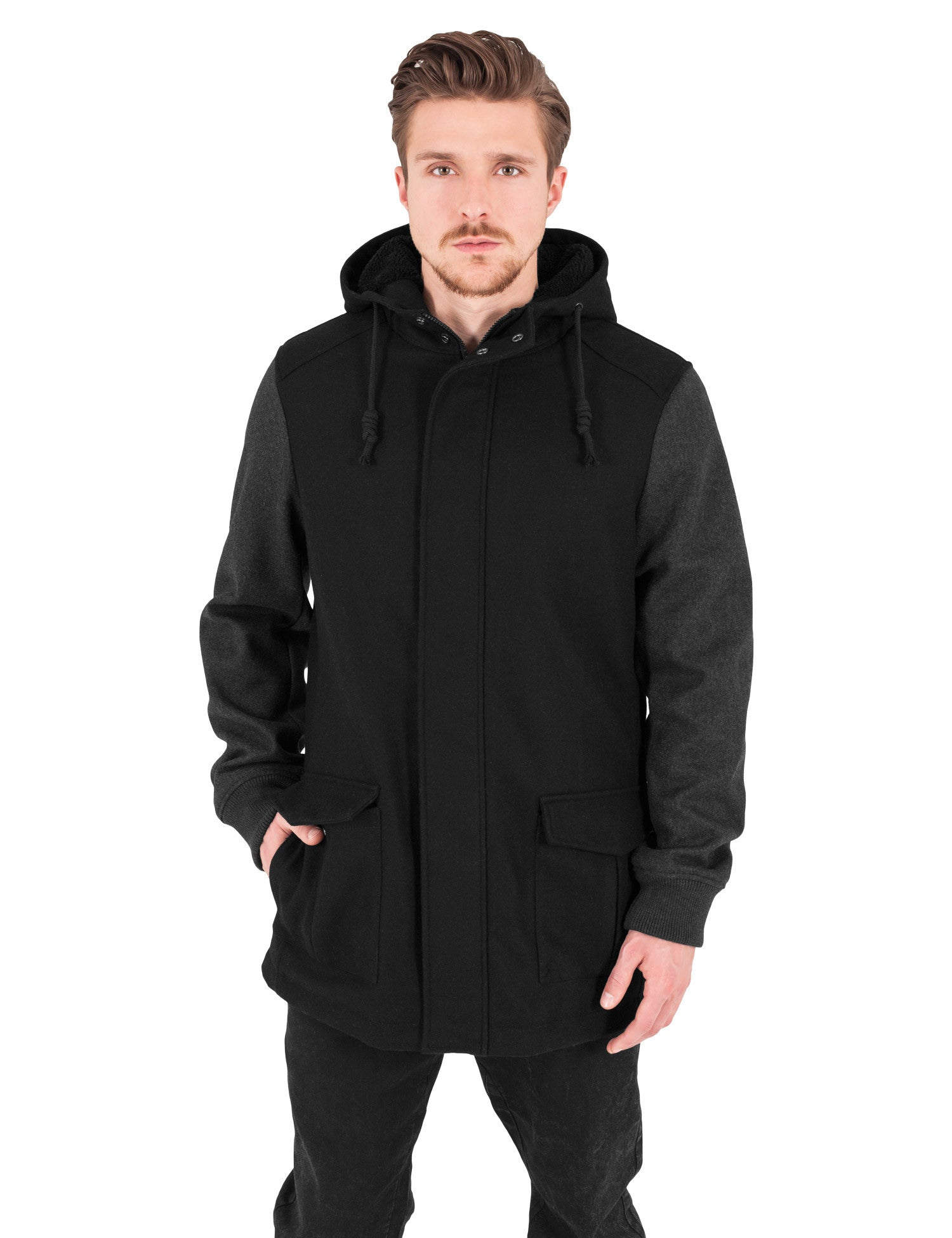 Contrast Hooded Wool Jacket TB1161 Black