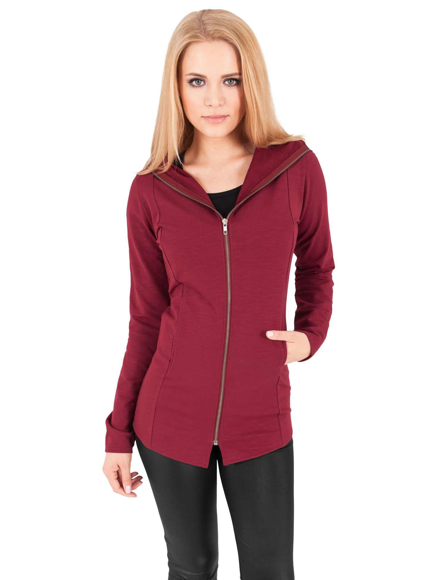 Ladies Long Melange Zip Hoody TB1047 Brown