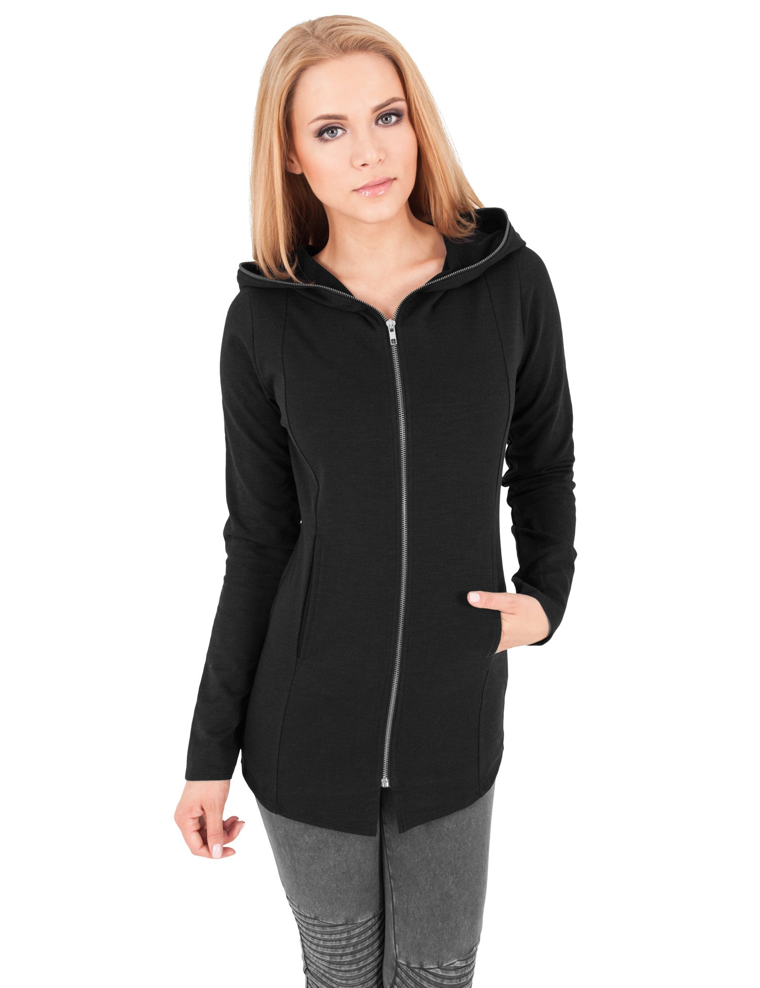 Ladies Long Melange Zip Hoody TB1047 Grey