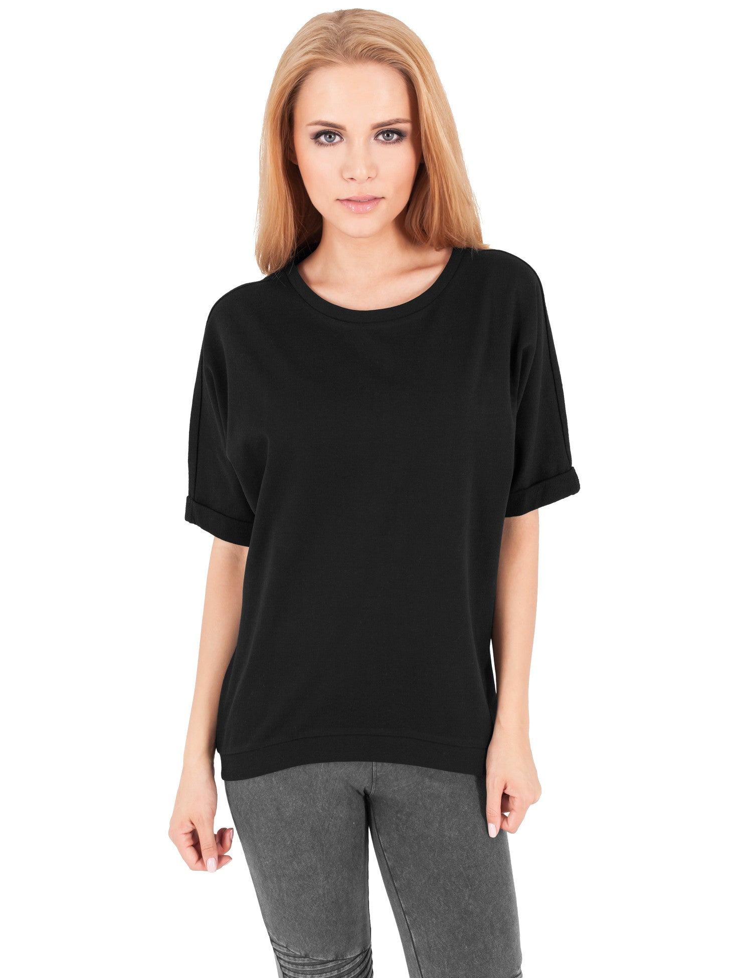 Ladies Short Sleeve Terry Crew TB1052 Black